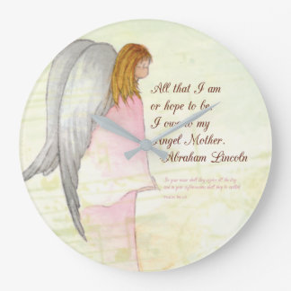 Mother's Day Angel Religious, Round Gift Clocks