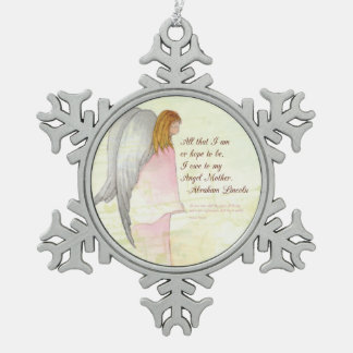 Mother's Day Angel Religious, Round Gift Pewter Snowflake Decoration