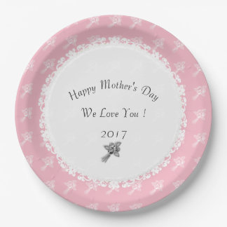 Mother's-Day--Anniversary-Template_Pink-White-Rose Paper Plate