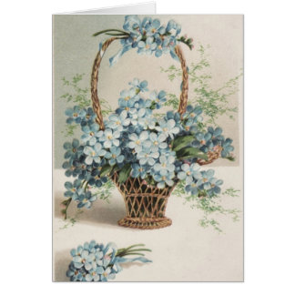 Mother's Day Basket of Forget-Me-Nots Greeting Card