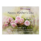 Mother's Day, Bible Verse Psalm 147:11 Pink Roses Postcard