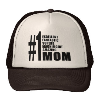 Mothers Day Birthdays Christmas Number One Mom Mesh Hats