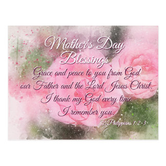 Mother's Day Blessings Philippians 1:2-3 Pink Rose Postcard