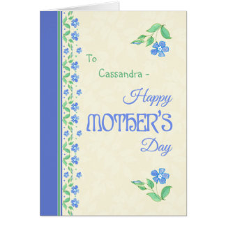 Mother's Day Blue Periwinkle Floral Border Card