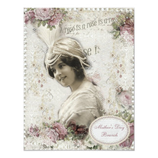 """Mother's Day Brunch A Rose is a Rose Vintage Lady 4.25"""" X 5.5"""" Invitation Card"""