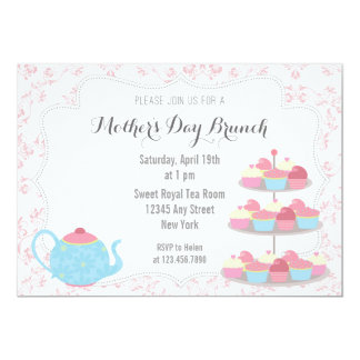 """Mother's Day Brunch Invitation Floral Pink 5"""" X 7"""" Invitation Card"""