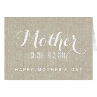 Mother's Day Card | Beige Linen Personalized