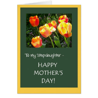 Mother's Day Card for a Stepdaughter - 'Tulips'