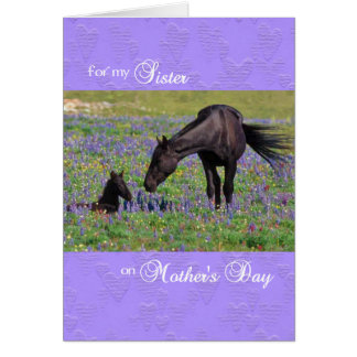 Mother's Day Card for Sister, Mustang Mare w/ Foal