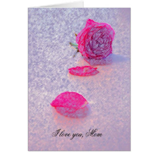 MOTHERS DAY CARD I LOVE YOU MOM by ara Pastel Rose