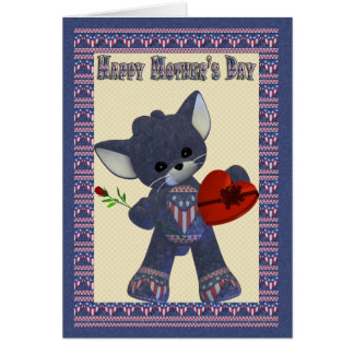 Mother's Day Card with Little Patriotic Cat