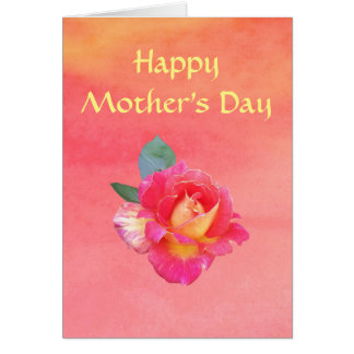 Mother's Day Card with Rose on 'Sunset' Background