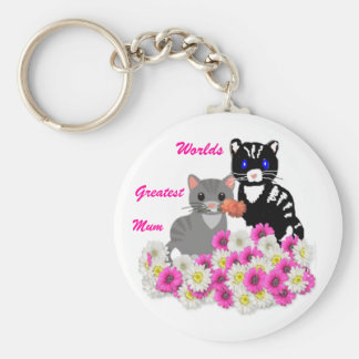 Mother's Day Cats Basic Round Button Key Ring