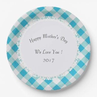 Mother's-Day-Celebrate--Vintage-Picnic-Checks_Aqua Paper Plate