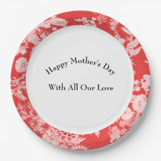 Mother's-Day-Celebration-Antique-Red-Birds--Floral Paper Plate