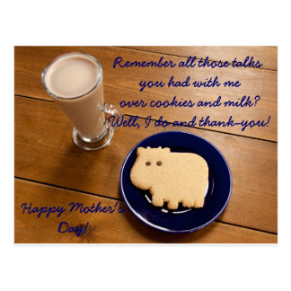 Mother's Day Cookies And Milk Postcard