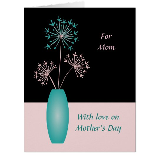 Mothers Day custom text flowers for mum modern Card