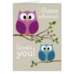 Mothers Day - Cute Owls Greeting Card