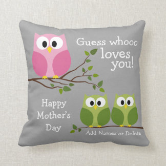 Mothers Day - Cute Owls - Whooo loves you Cushion