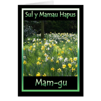 Mother's Day, Daffodil, Welsh Language Card