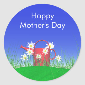 Mothers Day Daisies and Watering Can Round Sticker