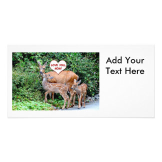 Mothers Day Deer Family Custom Photo Card