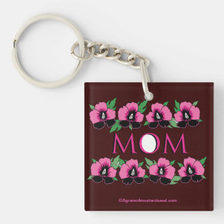 Mother's Day Double-Sided Square Acrylic Key Ring