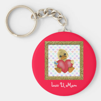 Mother's Day Ducks Basic Round Button Key Ring