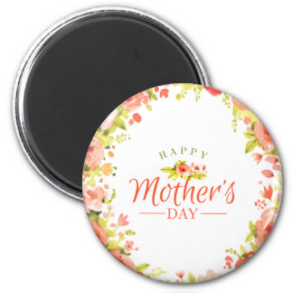 Mother's day flowers 6 cm round magnet