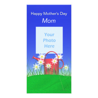 Mothers Day for Mom Daisies and Watering Can Personalized Photo Card