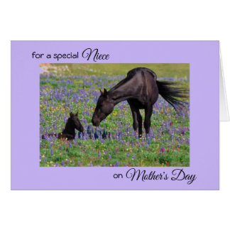 Mother's Day for Niece Mare & Foal Bluebells Photo Card