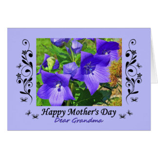 Mother's Day Grandma Balloon Flowers & Curlicues Card