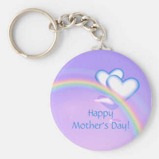 Mothers Day High Hearts Basic Round Button Key Ring