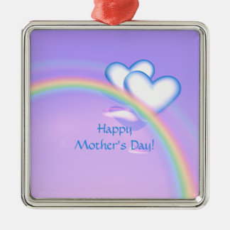 Mothers Day High Hearts Silver-Colored Square Decoration