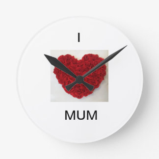 Mother's Day 'I Love Mum' Round Red Heart Clock