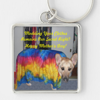 Mother's Day Modeling Clothes Silver-Colored Square Key Ring