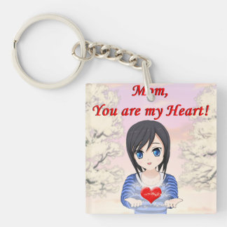 Mother's Day - Mum, You are my Heart (Customizable Double-Sided Square Acrylic Key Ring