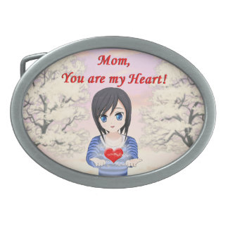 Mother's Day - Mum, You are my Heart (Customizable Oval Belt Buckle