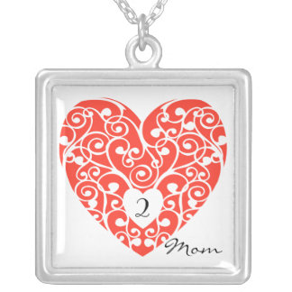Mother's Day Necklace Red White heart Mom of 2
