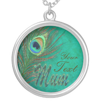Mother's day peacock teather text design necklaces