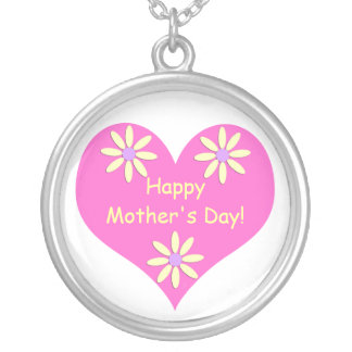 Mother's Day Pink Heart and Yellow Flowers Round Pendant Necklace