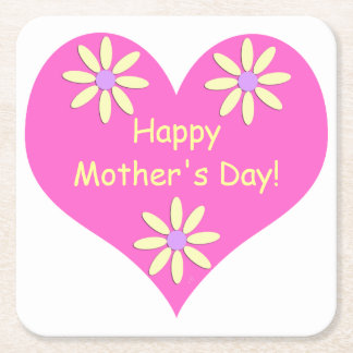 Mother's Day Pink Heart and Yellow Flowers Square Paper Coaster