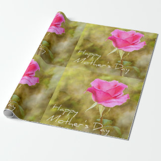 Mother's Day Pink Rose Flower Matte Wrapping Paper