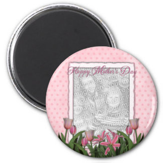 Mothers Day - Pink Tulips - Add Your Own Photo 6 Cm Round Magnet