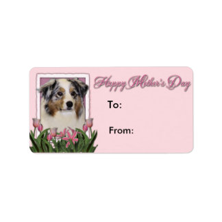 Mothers Day - Pink Tulips - Australia Shepherd Address Label