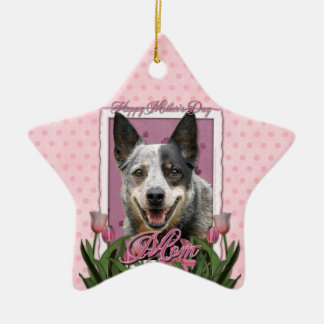 Mothers Day - Pink Tulips - Australian Cattle Dog Christmas Tree Ornament