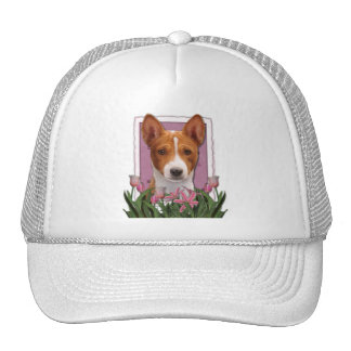Mothers Day - Pink Tulips - Basenji Trucker Hat