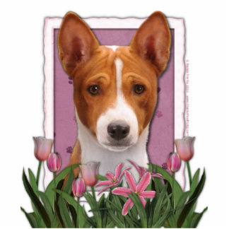 Mothers Day - Pink Tulips - Basenji Standing Photo Sculpture