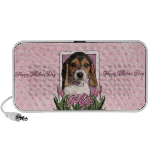 Mothers Day - Pink Tulips - Beagle Puppy Speaker System
