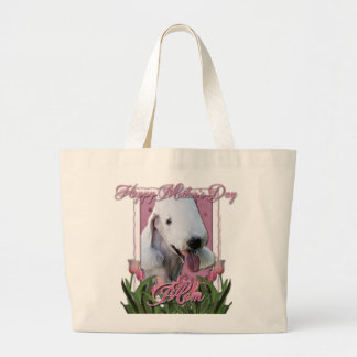 Mothers Day - Pink Tulips - Bedlington Terrier Large Tote Bag